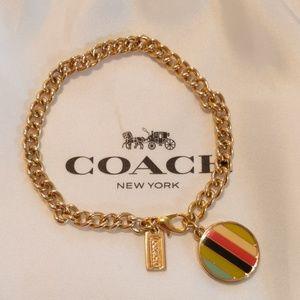Rare! Coach Disc Charm Bracelet EUC